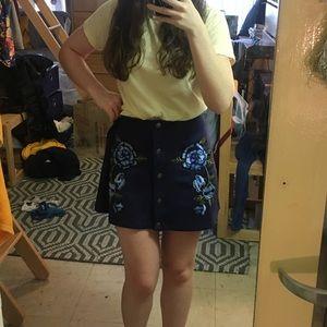 BB Dakota Suede embroidered skirt